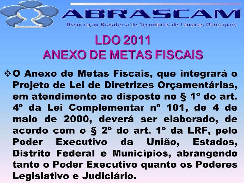 LDO 2011 ANEXO DE METAS FISCAIS O Anexo de Metas Fiscais, que integrará o Projeto de Lei de Diretrizes Orçamentárias, em atendimento ao disposto no §