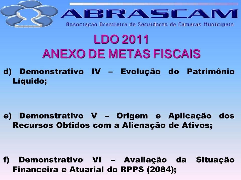 LDO 2011 ANEXO DE METAS FISCAIS d) Demonstrativo IV – Evolução do Patrimônio Líquido; e) Demonstrativo V – Origem e Aplicação dos Recursos Obtidos com