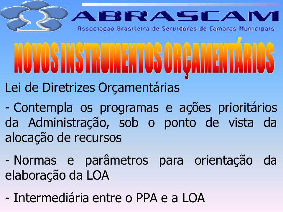 Lei de Diretrizes Orçamentárias - Contempla os programas e ações prioritários da Administração, sob o ponto de vista da alocação de recursos - Normas
