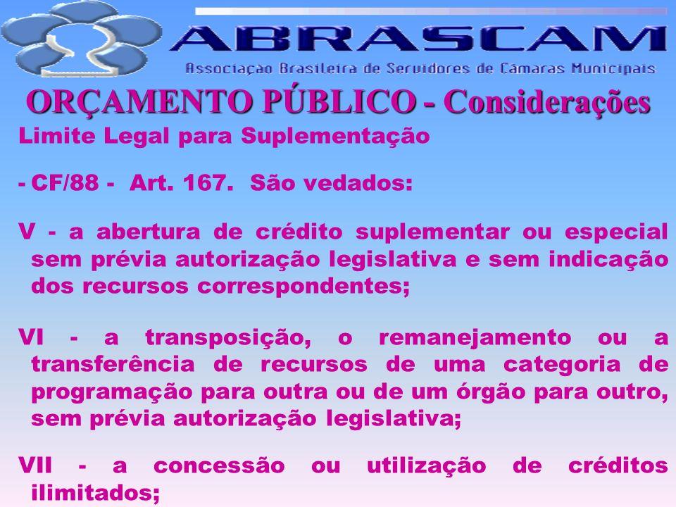 ORÇAMENTO PÚBLICO - Considerações Limite Legal para Suplementação -CF/88 - Art. 167. São vedados: V - a abertura de crédito suplementar ou especial se