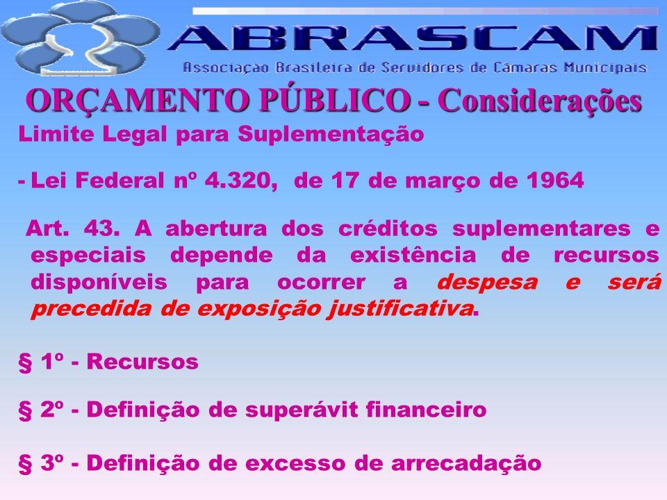 ORÇAMENTO PÚBLICO - Considerações Limite Legal para Suplementação -Lei Federal nº 4.320, de 17 de março de 1964 Art. 43. A abertura dos créditos suple
