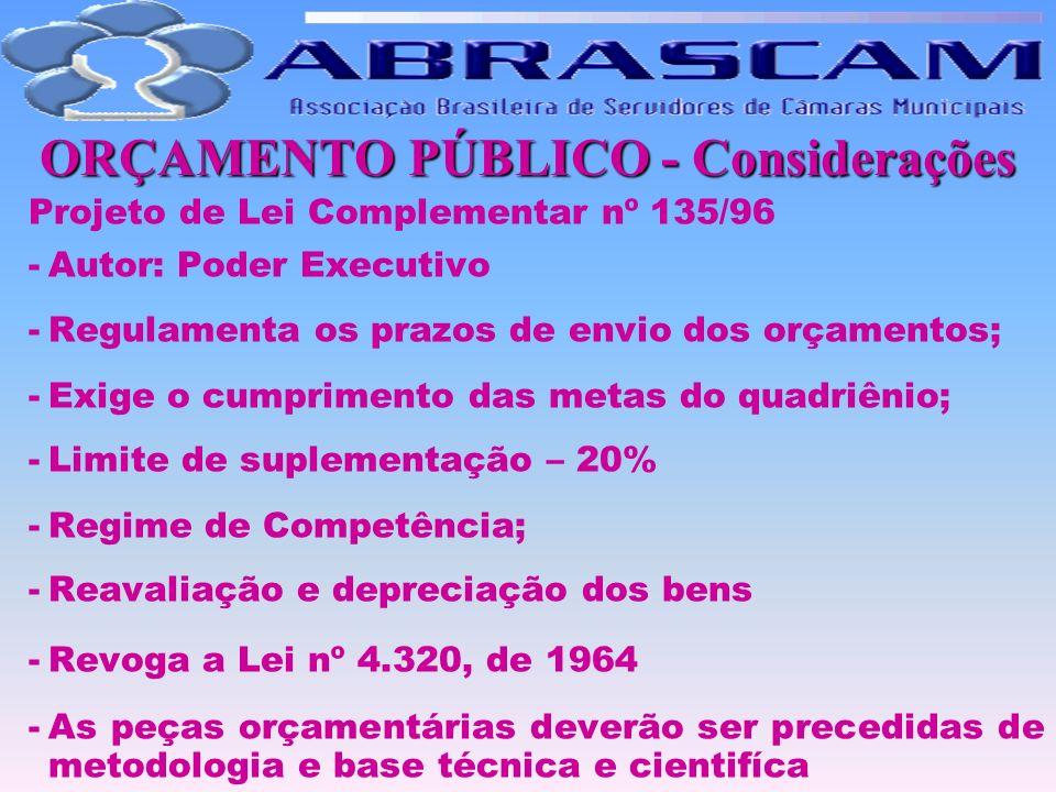 ORÇAMENTO PÚBLICO - Considerações Projeto de Lei Complementar nº 135/96 -Autor: Poder Executivo -Regulamenta os prazos de envio dos orçamentos; -Exige