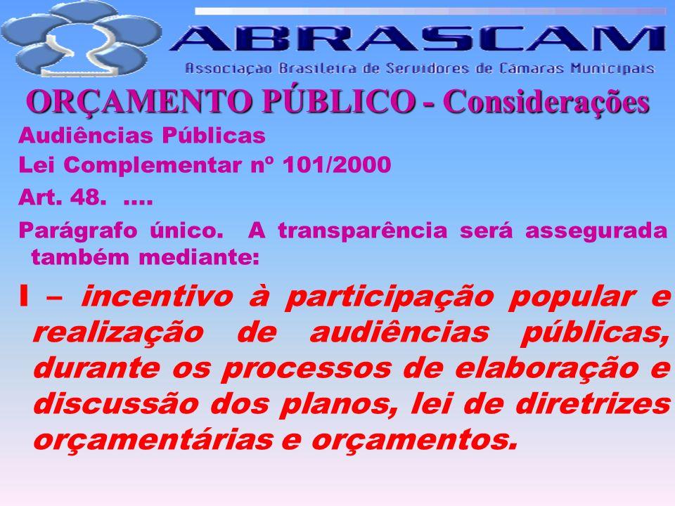 ORÇAMENTO PÚBLICO - Considerações Audiências Públicas Lei Complementar nº 101/2000 Art. 48..... Parágrafo único. A transparência será assegurada també
