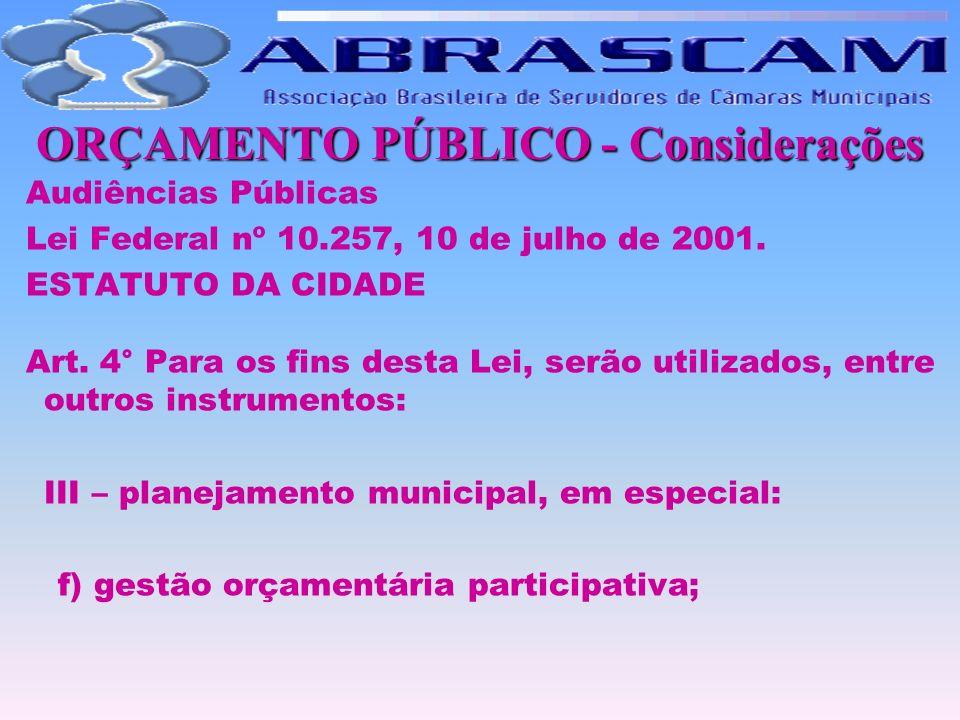 ORÇAMENTO PÚBLICO - Considerações Audiências Públicas Lei Federal nº 10.257, 10 de julho de 2001. ESTATUTO DA CIDADE Art. 4° Para os fins desta Lei, s