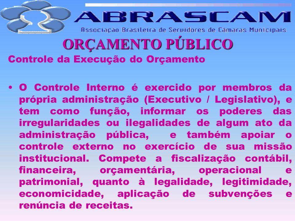 ORÇAMENTO PÚBLICO Controle da Execução do Orçamento O Controle Interno é exercido por membros da própria administração (Executivo / Legislativo), e te