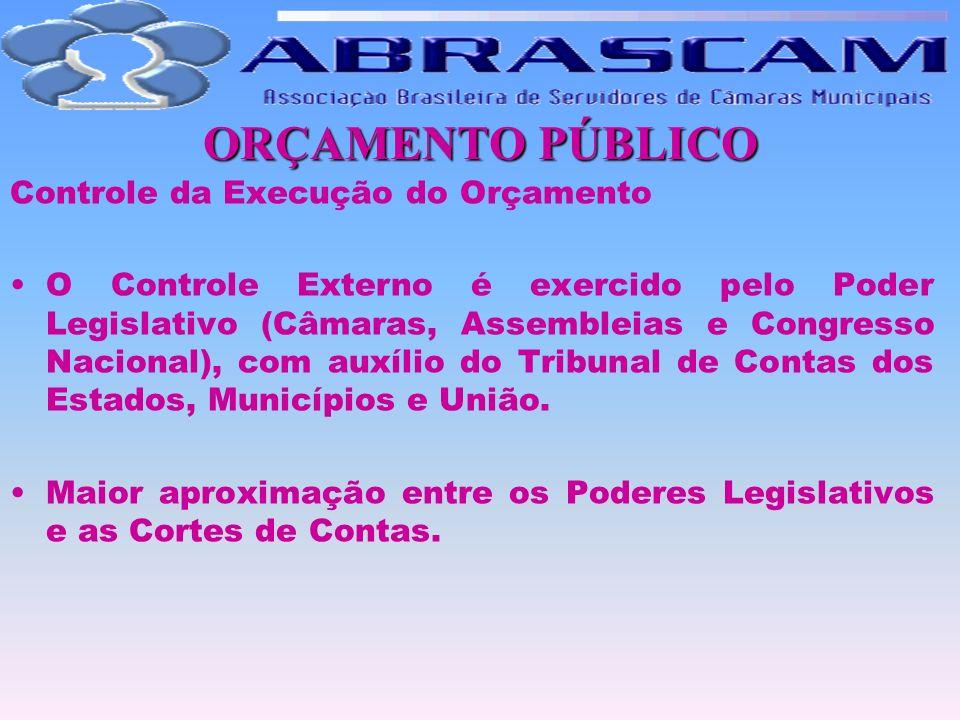 ORÇAMENTO PÚBLICO Controle da Execução do Orçamento O Controle Externo é exercido pelo Poder Legislativo (Câmaras, Assembleias e Congresso Nacional),