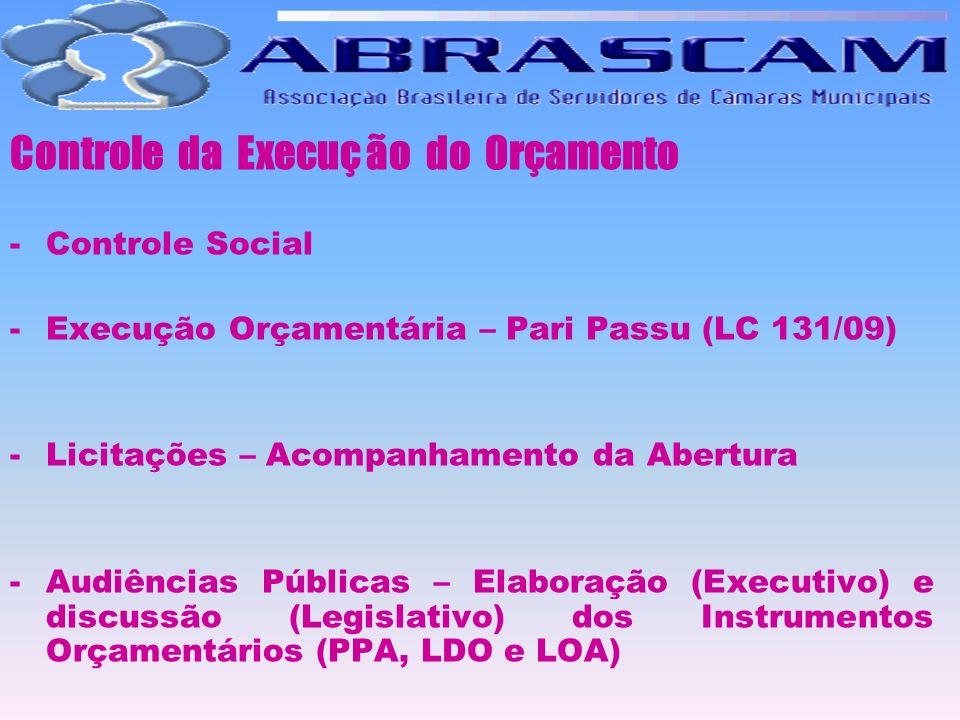 Controle da Execuç ão do Orçamento -Controle Social -Execução Orçamentária – Pari Passu (LC 131/09) -Licitações – Acompanhamento da Abertura -Audiênci