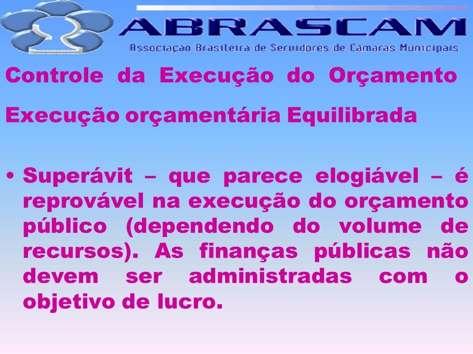 Controle da Execução do Orçamento Execução orçamentária Equilibrada Superávit – que parece elogiável – é reprovável na execução do orçamento público (