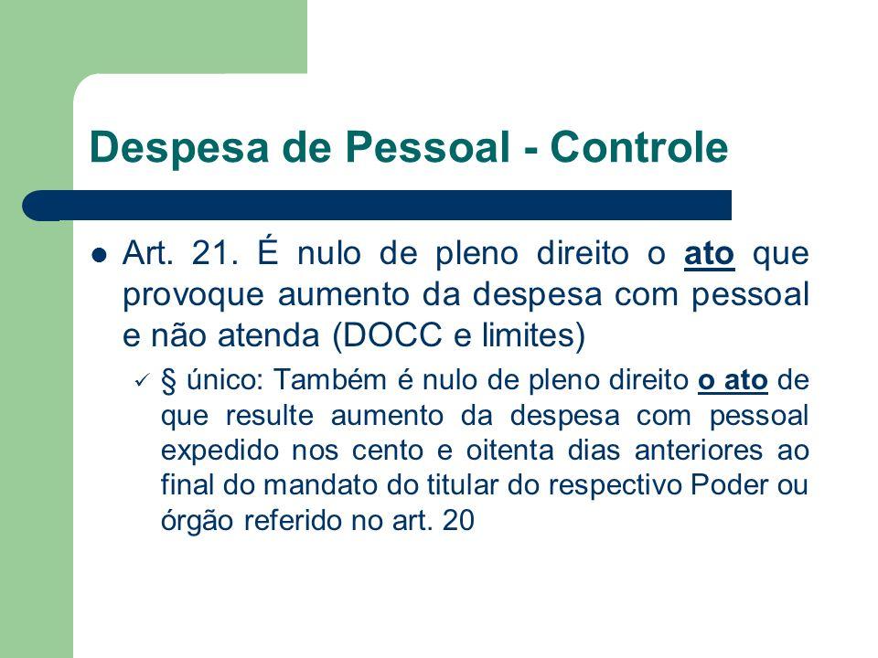Despesa de Pessoal - Controle Art. 21. É nulo de pleno direito o ato que provoque aumento da despesa com pessoal e não atenda (DOCC e limites) § único