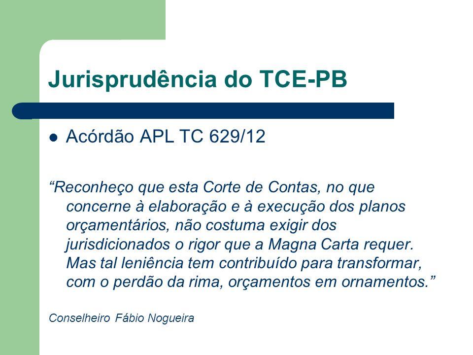 Jurisprudência do TCE-PB Acórdão APL TC 629/12 Reconheço que esta Corte de Contas, no que concerne à elaboração e à execução dos planos orçamentários,