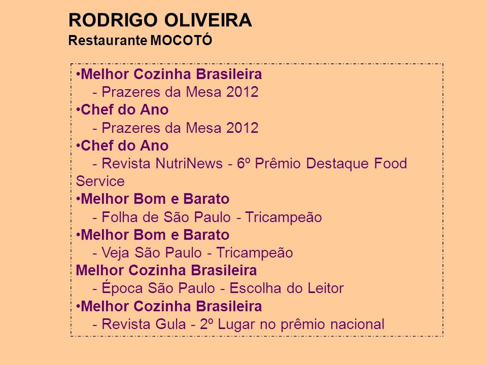RODRIGO OLIVEIRA Restaurante MOCOTÓ Melhor Cozinha Brasileira - Prazeres da Mesa 2012 Chef do Ano - Prazeres da Mesa 2012 Chef do Ano - Revista NutriN