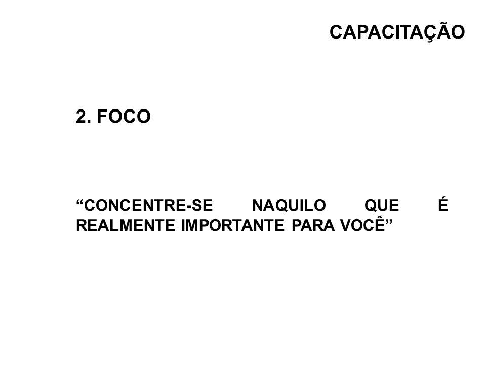 2. FOCO CONCENTRE-SE NAQUILO QUE É REALMENTE IMPORTANTE PARA VOCÊ CAPACITAÇÃO