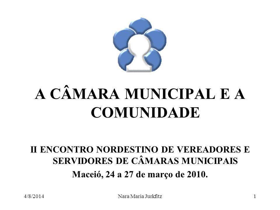 A CÂMARA MUNICIPAL E A COMUNIDADE II ENCONTRO NORDESTINO DE VEREADORES E SERVIDORES DE CÂMARAS MUNICIPAIS Maceió, 24 a 27 de março de 2010.