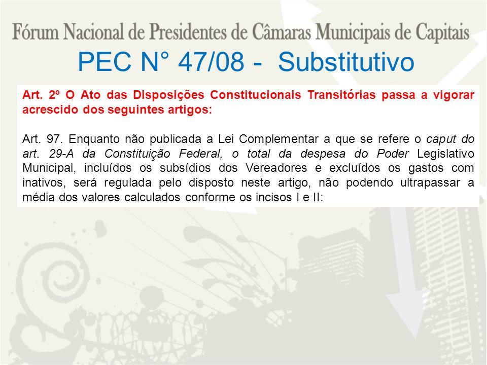 Art. 2º O Ato das Disposições Constitucionais Transitórias passa a vigorar acrescido dos seguintes artigos: Art. 97. Enquanto não publicada a Lei Comp