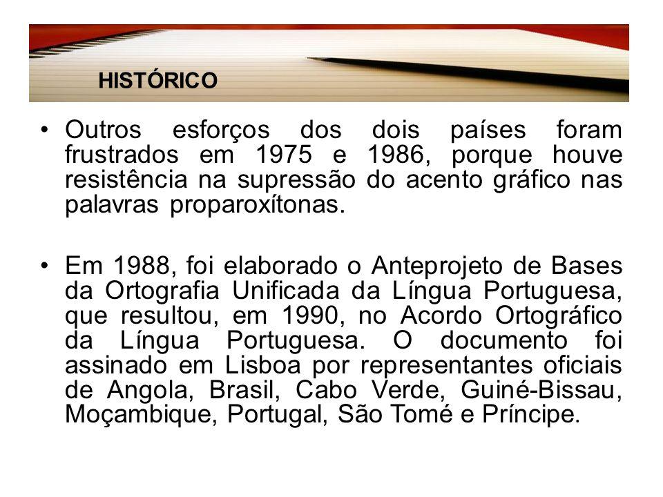 Histórico: Outros esforços dos dois países foram frustrados em 1975 e 1986, porque houve resistência na supressão do acento gráfico nas palavras proparoxítonas.