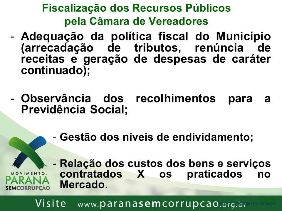Encontro Movimento Paraná sem Corrupção Fiscalização dos Recursos Públicos pela Câmara de Vereadores -Adequação da política fiscal do Município (arrec