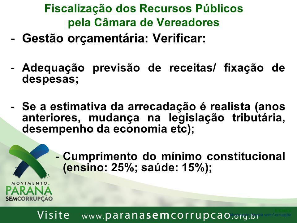 Encontro Movimento Paraná sem Corrupção Fiscalização dos Recursos Públicos pela Câmara de Vereadores -Gestão orçamentária: Verificar: -Adequação previ