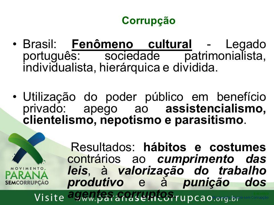 Encontro Movimento Paraná sem Corrupção Corrupção Brasil: Fenômeno cultural - Legado português: sociedade patrimonialista, individualista, hierárquica