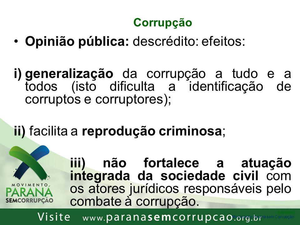 Encontro Movimento Paraná sem Corrupção Corrupção Opinião pública: descrédito: efeitos: i)generalização da corrupção a tudo e a todos (isto dificulta
