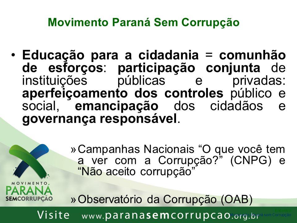 Encontro Movimento Paraná sem Corrupção Movimento Paraná Sem Corrupção Educação para a cidadania = comunhão de esforços: participação conjunta de inst