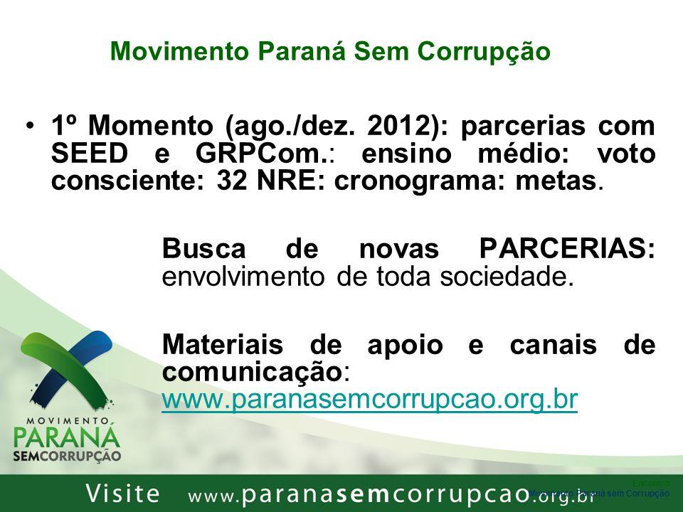 Encontro Movimento Paraná sem Corrupção Movimento Paraná Sem Corrupção 1º Momento (ago./dez. 2012): parcerias com SEED e GRPCom.: ensino médio: voto c