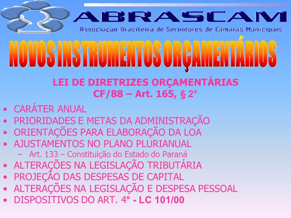 LEI DE DIRETRIZES ORÇAMENTÁRIAS CF/88 – Art. 165, § 2° CARÁTER ANUAL PRIORIDADES E METAS DA ADMINISTRAÇÃO ORIENTAÇÕES PARA ELABORAÇÃO DA LOA AJUSTAMEN
