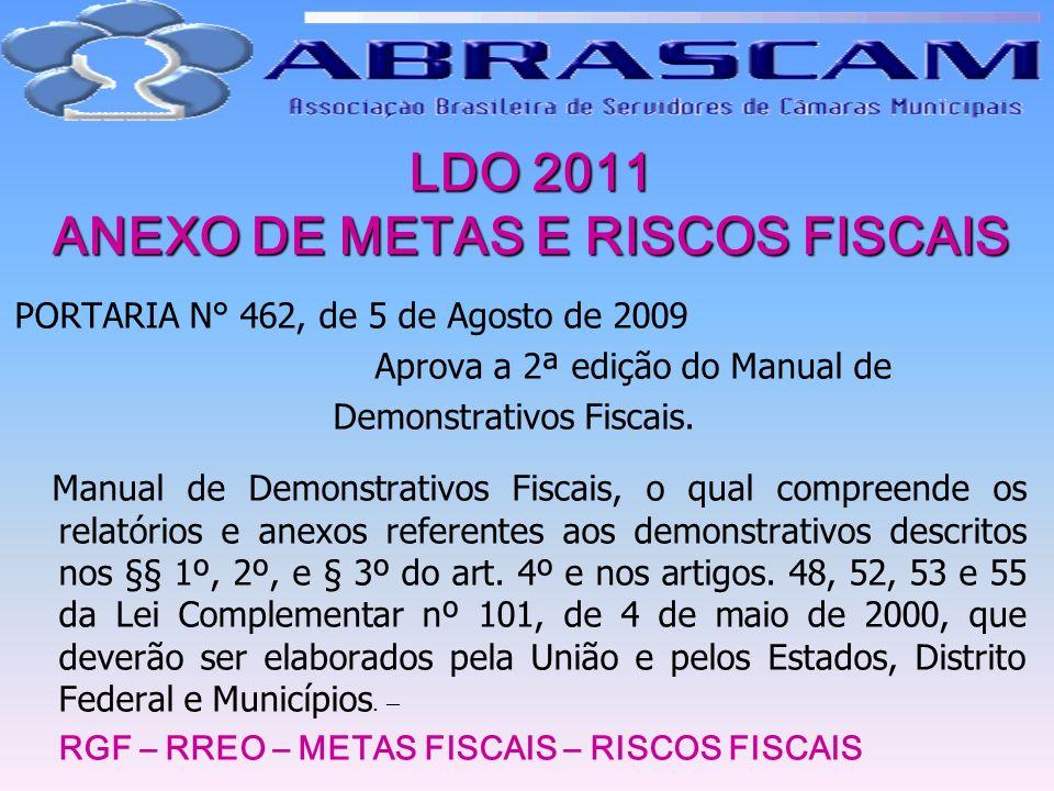 LDO 2011 ANEXO DE METAS E RISCOS FISCAIS PORTARIA N° 462, de 5 de Agosto de 2009 Aprova a 2ª edição do Manual de Demonstrativos Fiscais. Manual de Dem