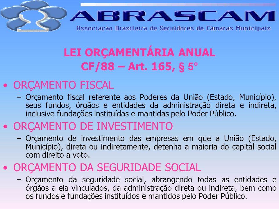 LEI ORÇAMENTÁRIA ANUAL CF/88 – Art. 165, § 5° ORÇAMENTO FISCAL –Orçamento fiscal referente aos Poderes da União (Estado, Município), seus fundos, órgã