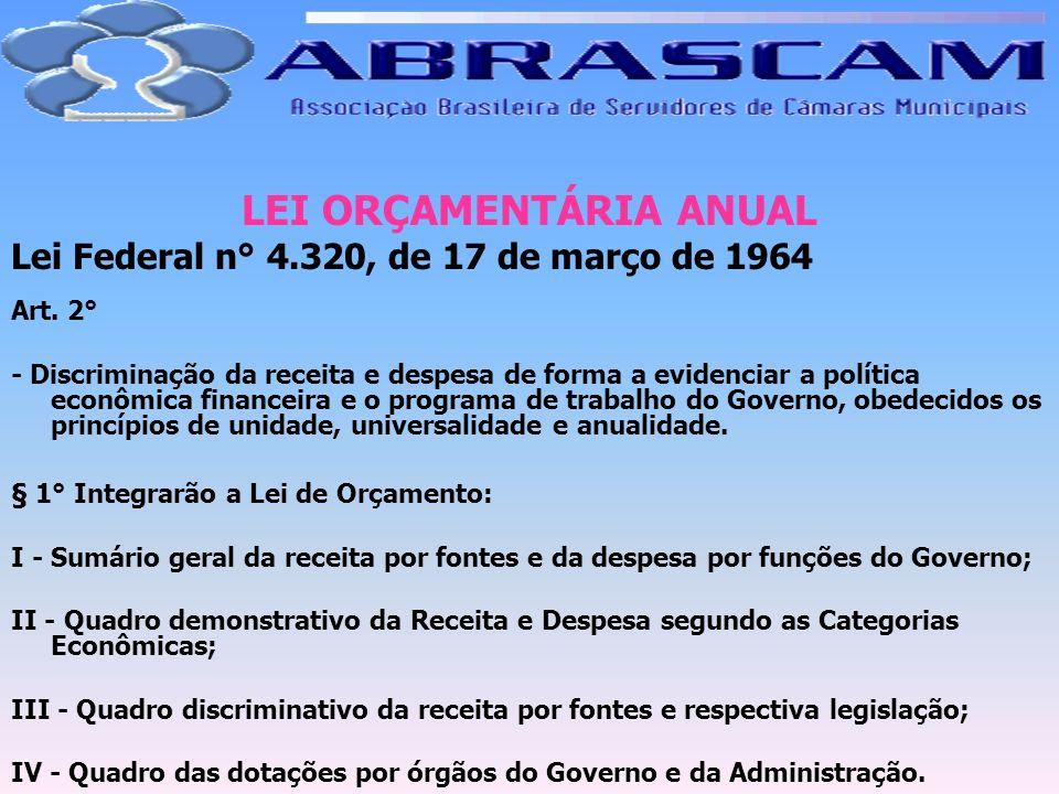 LEI ORÇAMENTÁRIA ANUAL Lei Federal n° 4.320, de 17 de março de 1964 Art. 2° - Discriminação da receita e despesa de forma a evidenciar a política econ