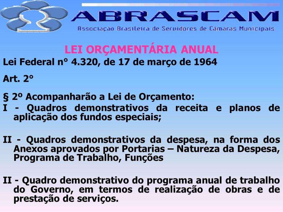 LEI ORÇAMENTÁRIA ANUAL Lei Federal n° 4.320, de 17 de março de 1964 Art. 2° § 2º Acompanharão a Lei de Orçamento: I - Quadros demonstrativos da receit