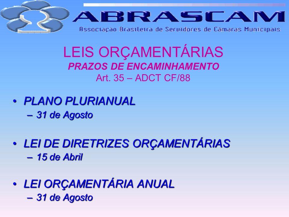 LEIS ORÇAMENTÁRIAS PRAZOS DE ENCAMINHAMENTO Art. 35 – ADCT CF/88 PLANO PLURIANUALPLANO PLURIANUAL –31 de Agosto LEI DE DIRETRIZES ORÇAMENTÁRIASLEI DE