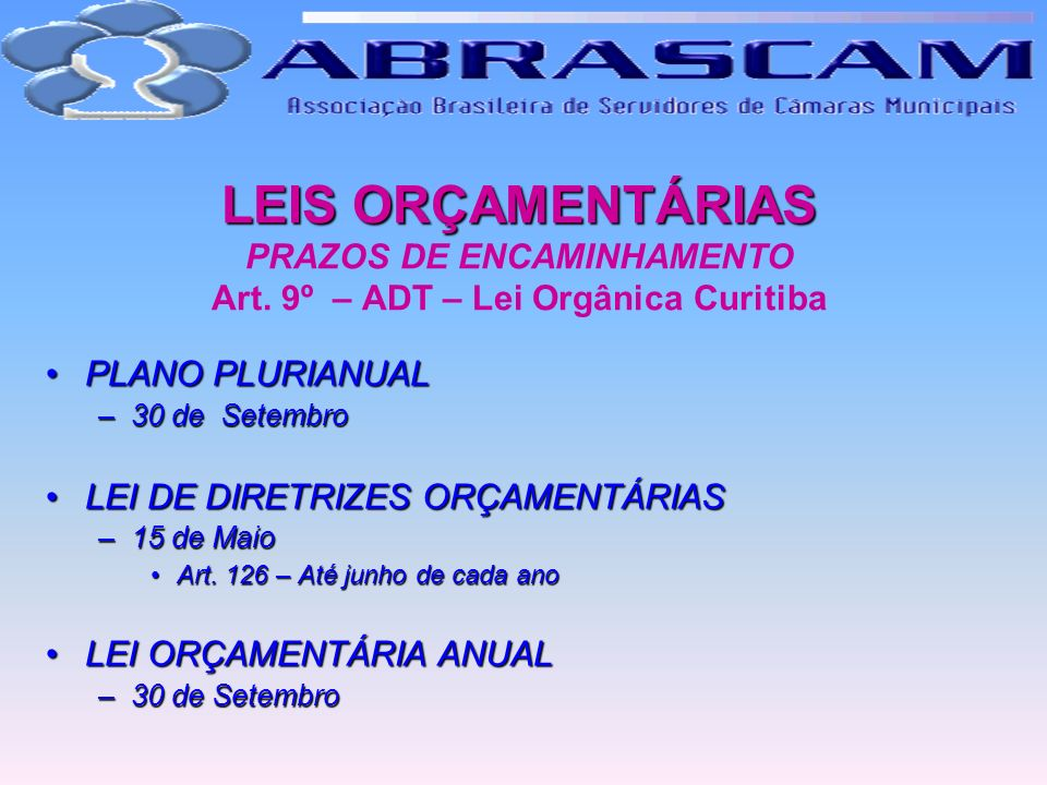 LEIS ORÇAMENTÁRIAS LEIS ORÇAMENTÁRIAS PRAZOS DE ENCAMINHAMENTO Art. 9º – ADT – Lei Orgânica Curitiba PLANO PLURIANUALPLANO PLURIANUAL –30 de Setembro