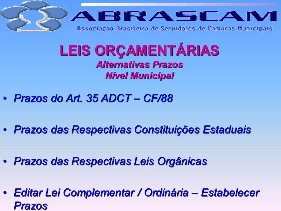 LEIS ORÇAMENTÁRIAS Alternativas Prazos Nível Municipal Prazos do Art. 35 ADCT – CF/88Prazos do Art. 35 ADCT – CF/88 Prazos das Respectivas Constituiçõ