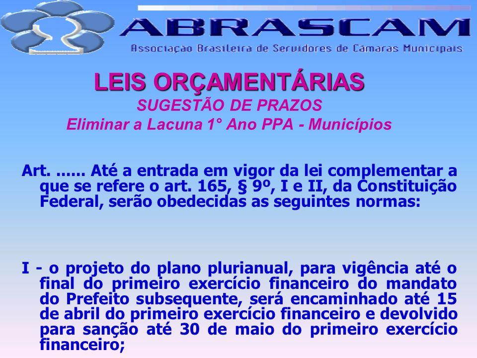 LEIS ORÇAMENTÁRIAS LEIS ORÇAMENTÁRIAS SUGESTÃO DE PRAZOS Eliminar a Lacuna 1° Ano PPA - Municípios Art....... Até a entrada em vigor da lei complement