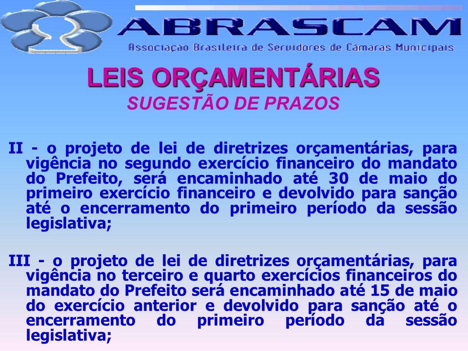 LEIS ORÇAMENTÁRIAS LEIS ORÇAMENTÁRIAS SUGESTÃO DE PRAZOS II - o projeto de lei de diretrizes orçamentárias, para vigência no segundo exercício finance
