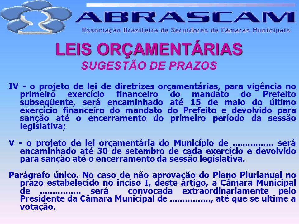 LEIS ORÇAMENTÁRIAS LEIS ORÇAMENTÁRIAS SUGESTÃO DE PRAZOS IV - o projeto de lei de diretrizes orçamentárias, para vigência no primeiro exercício financ