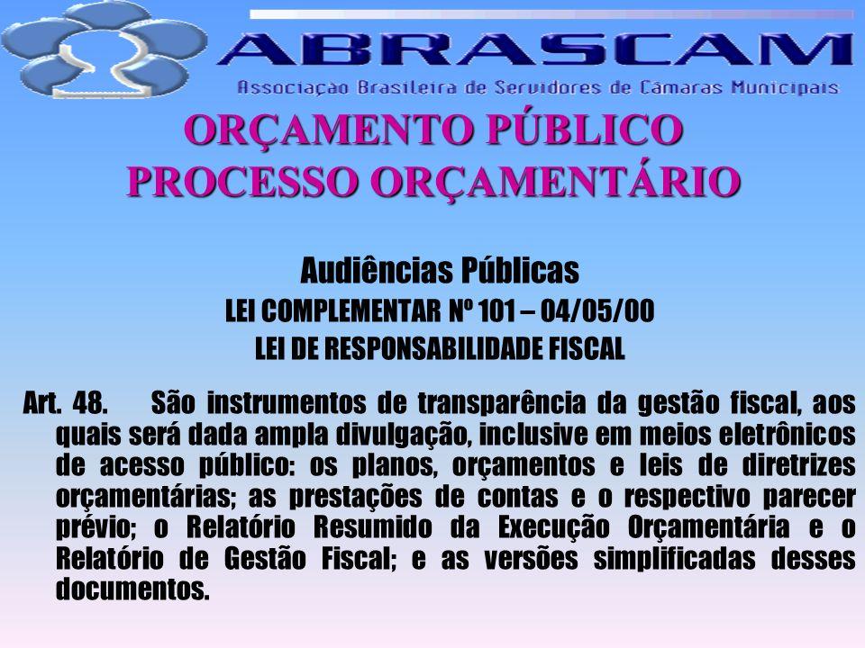 ORÇAMENTO PÚBLICO PROCESSO ORÇAMENTÁRIO Audiências Públicas LEI COMPLEMENTAR Nº 101 – 04/05/00 LEI DE RESPONSABILIDADE FISCAL Art. 48. São instrumento