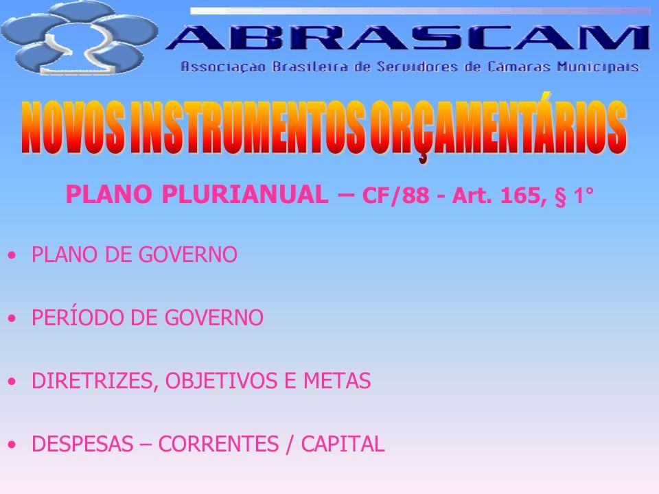 PLANO PLURIANUAL – CF/88 - Art. 165, § 1° PLANO DE GOVERNO PERÍODO DE GOVERNO DIRETRIZES, OBJETIVOS E METAS DESPESAS – CORRENTES / CAPITAL