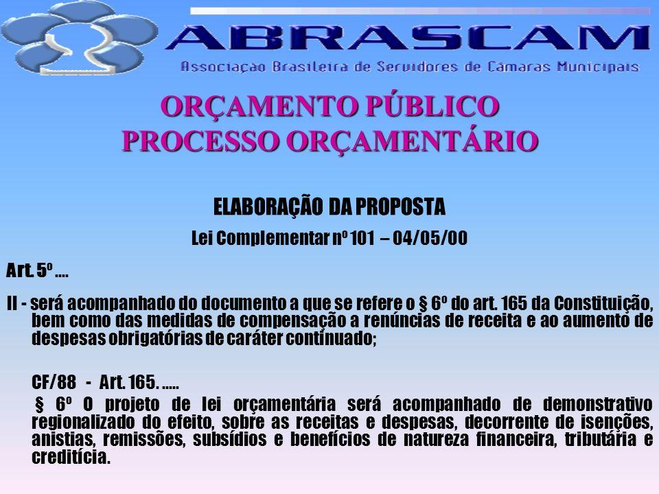 ORÇAMENTO PÚBLICO PROCESSO ORÇAMENTÁRIO ELABORAÇÃO DA PROPOSTA Lei Complementar nº 101 – 04/05/00 Art. 5º.... II - será acompanhado do documento a que