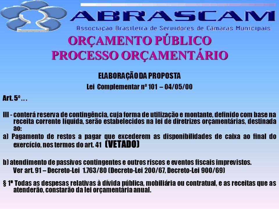 ORÇAMENTO PÚBLICO PROCESSO ORÇAMENTÁRIO ELABORAÇÃO DA PROPOSTA Lei Complementar nº 101 – 04/05/00 Art. 5º... III - conterá reserva de contingência, cu