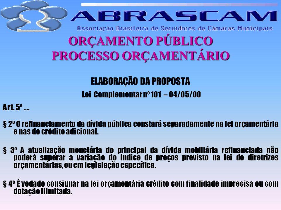 ORÇAMENTO PÚBLICO PROCESSO ORÇAMENTÁRIO ELABORAÇÃO DA PROPOSTA Lei Complementar nº 101 – 04/05/00 Art. 5º.... § 2º O refinanciamento da dívida pública
