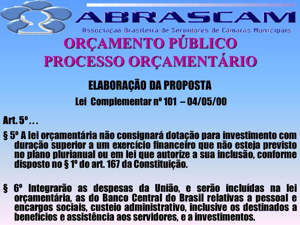 ORÇAMENTO PÚBLICO PROCESSO ORÇAMENTÁRIO ELABORAÇÃO DA PROPOSTA Lei Complementar nº 101 – 04/05/00 Art. 5º... § 5º A lei orçamentária não consignará do