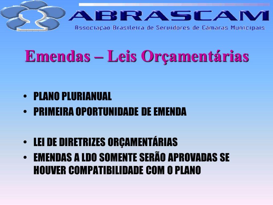Emendas – Leis Orçamentárias PLANO PLURIANUAL PRIMEIRA OPORTUNIDADE DE EMENDA LEI DE DIRETRIZES ORÇAMENTÁRIAS EMENDAS A LDO SOMENTE SERÃO APROVADAS SE