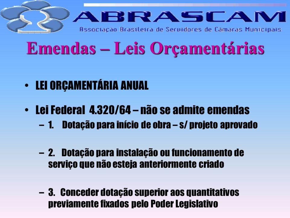 Emendas – Leis Orçamentárias LEI ORÇAMENTÁRIA ANUAL Lei Federal 4.320/64 – não se admite emendas –1. Dotação para início de obra – s/ projeto aprovado