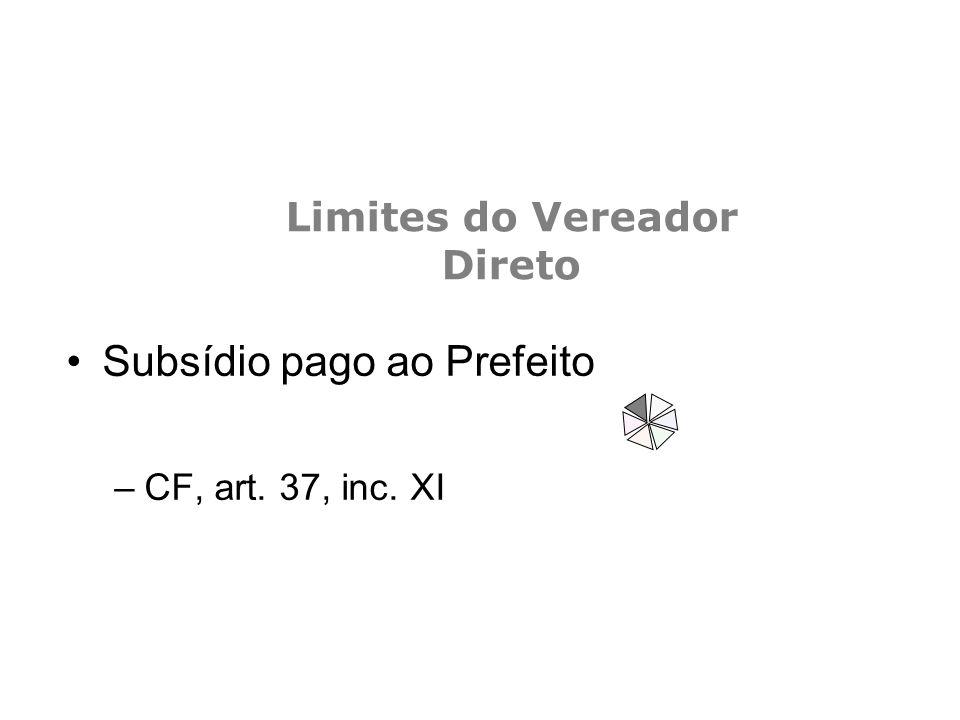 Limites do Vereador Direto Subsídio pago ao Prefeito –CF, art. 37, inc. XI