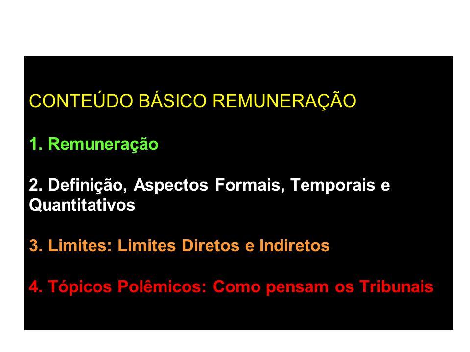 CONTEÚDO BÁSICO REMUNERAÇÃO 1. Remuneração 2. Definição, Aspectos Formais, Temporais e Quantitativos 3. Limites: Limites Diretos e Indiretos 4. Tópico