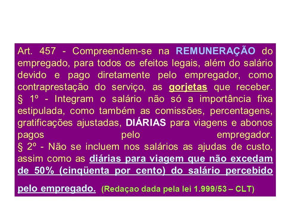 Art. 457 - Compreendem-se na REMUNERAÇÃO do empregado, para todos os efeitos legais, além do salário devido e pago diretamente pelo empregador, como c