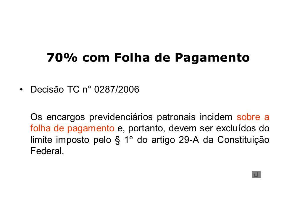70% com Folha de Pagamento Decisão TC n° 0287/2006 Os encargos previdenciários patronais incidem sobre a folha de pagamento e, portanto, devem ser exc