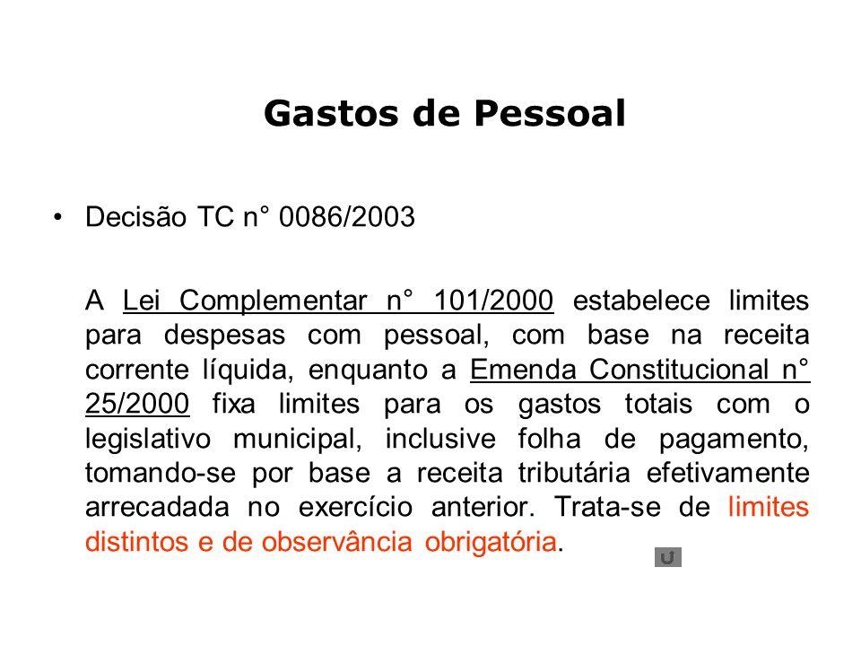 Gastos de Pessoal Decisão TC n° 0086/2003 A Lei Complementar n° 101/2000 estabelece limites para despesas com pessoal, com base na receita corrente lí