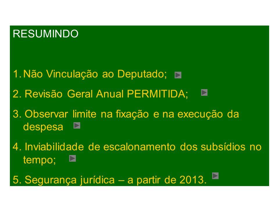 RESUMINDO 1.Não Vinculação ao Deputado; 2. Revisão Geral Anual PERMITIDA; 3.